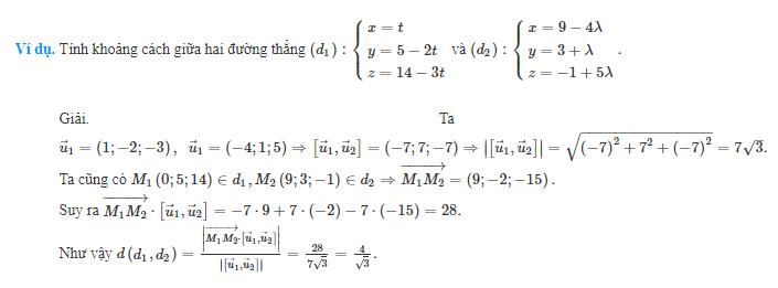 Công thức tính khoảng cách giữa hai đường thẳng chuẩn nhất là gì?